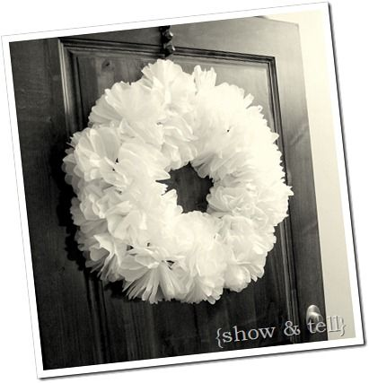 Tissue Paper Wreath - How great would this would look in green paper for St. Patty's Day?!