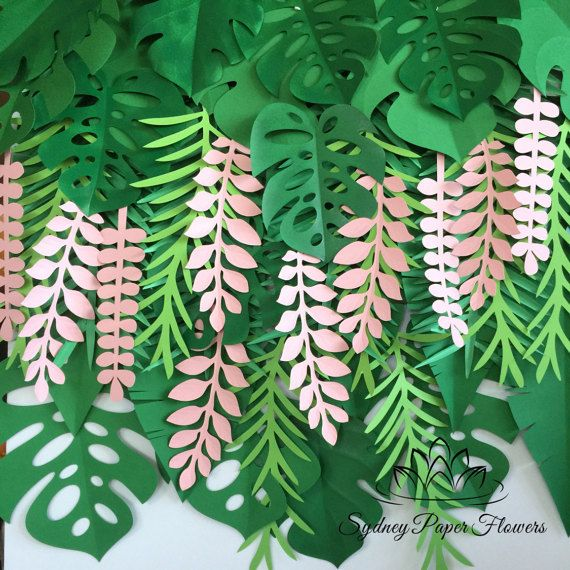 Tropical leaves backdrop (40 leaves)  Great for a jungle party or contemporary wedding    set of different shapes jungle leaves - banana tree, monsterra, ferns, boxwood  Pictured is a foam board 85 x 120 cm (portrait) fairly covered  7 small (8 x 28 cm) box wood leaves - in pink OR your colour of choice 11 big (29x29 cm) monsterra leaves 3 small (22 x 22 cm) monsterra leaves 9 big (30 x 50 cm) banana tree leaves 2 medium (15 x 25 cm) fern leaves 3 large (20 x 60 cm) fern leaves   Each leave…