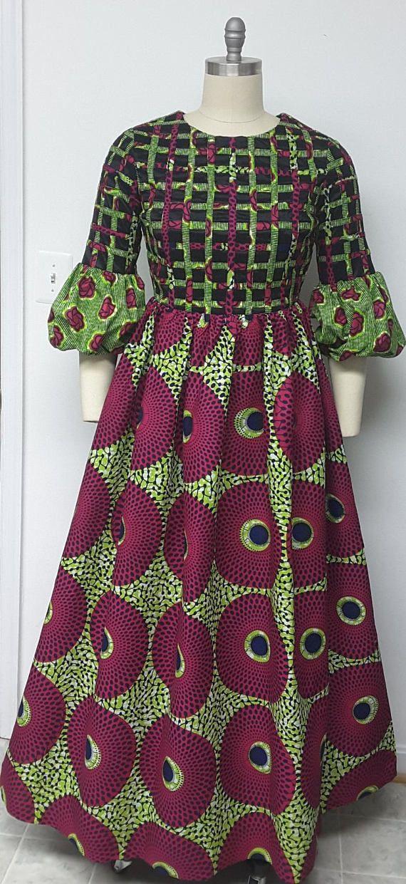 AYAWAX Collection. Multi African Print Maxi Dress. Lattice
