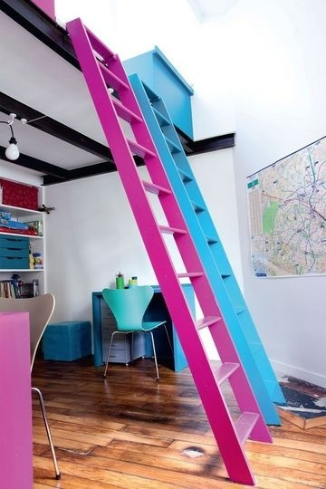 BOY GIRL=ONE ROOM. Love the floor color, and the loft.