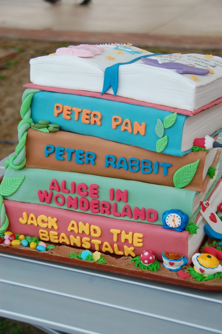 Cake Decorated Like Books : Storybook Birthday cake baby shower Pinterest ...