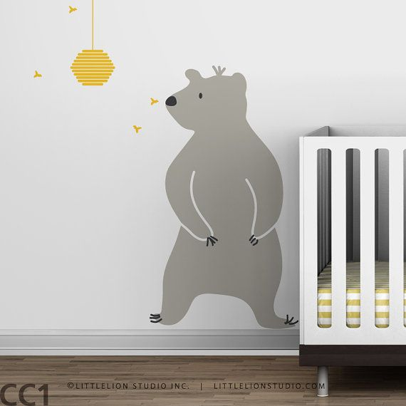 Nursery Wall Decal Baby Zoo Bear and Hive by LeoLittleLion on Etsy, $55.00