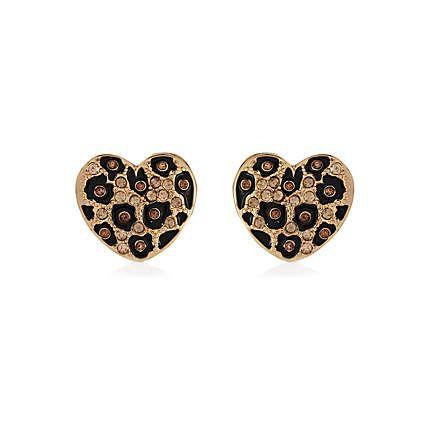 gold tone leopard heart studs - earrings - jewellery - women - River Island