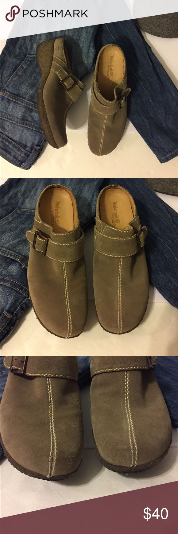 Timberland Shoes These Timberland are in excellent condition.  Barely worn.  Soft suede mules in a grayish tan color.  Perfect for fall.  A little discoloration on the rubber around the sole, no other wear or discoloration.  Size 7 1/2 Timberland Shoes Mules & Clogs