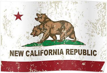New California Republic Flag Distressed Posters
