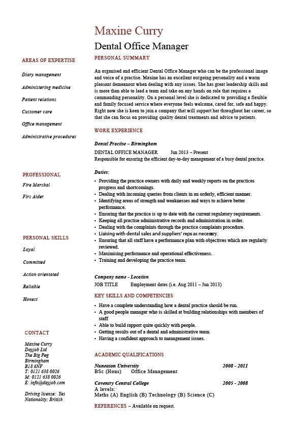 Dental Assistant Job Description For Resume Ideal Dental Office Manager Resume Example Sample Project Manager Resume Office Manager Resume Resume Examples