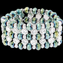 Hollywoods Fifties bracelet, beautiful green beads and swarovski crystals.  Also available in Bronze.  $76.95