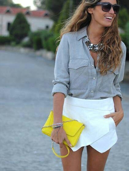 jupe falda cruzada asimetrica camisa vaquera