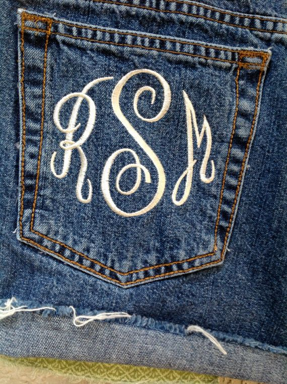 Monogram Pocket I need to do this on a pair of jeans!