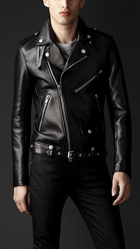 $4,895, Burberry Leather Biker Jacket. Sold by Burberry. Click for more info: https://lookastic.com/men/shop_items/6332/redirect