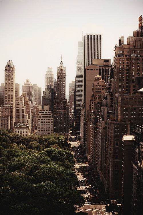 #NewYorkCity | Central Park South on the right, with Central Park on the left, looking towards the Pierre and Sherry Netherland Hotels on Fifth Avenue.: