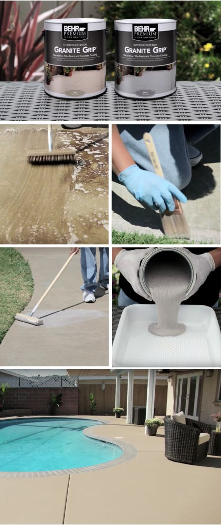 Upgrade your outdoor concrete and masonry surfaces with the tough and reliable coverage of BEHR Premium Granite Grip. This high-quality floor coating helps to bridge hairline cracks and resist household stains while offering a decorative granite look and a long lasting finish.