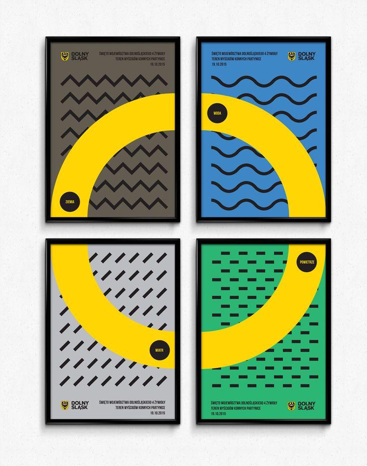 """Dolny Śląsk / Projekt plakatów promujących święto Województwa Dolnośląskiego: """"Cztery Żywioły"""". Ziemia, woda, wiatr, powietrze."""