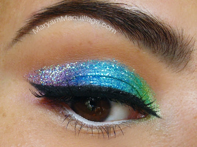 Cool colors glittery makeup