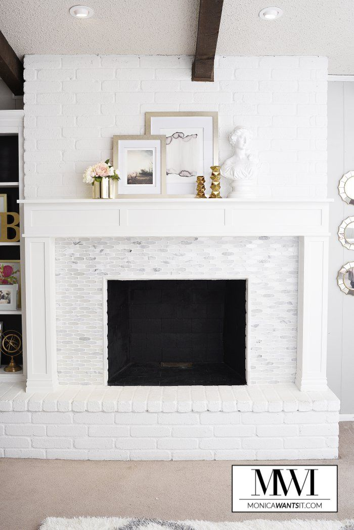 Diy Marble Fireplace Mantel Makeover, How To Reface A Brick Fireplace With Marble Tile