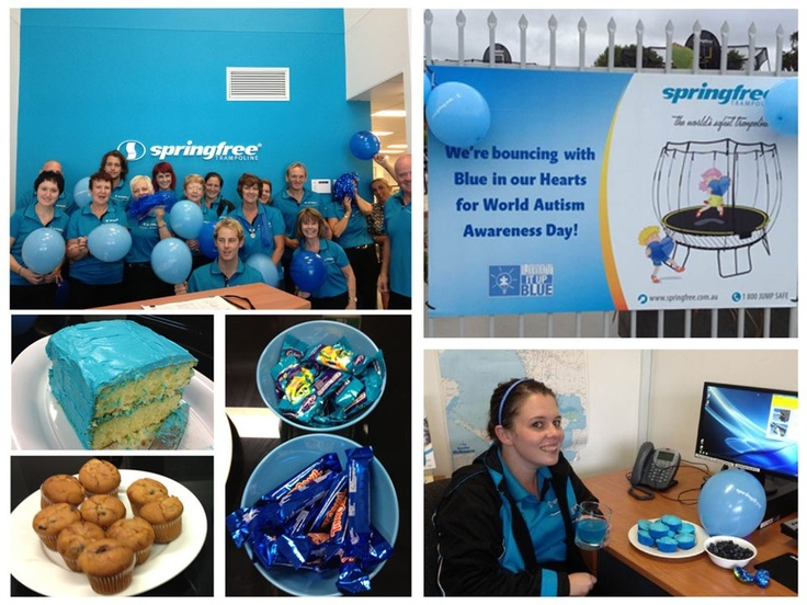 Australian Springfree team in blue for Autism Awareness Month. Did you know that AblePlay deemed Springfree's trampolines helpful in physical, cognitive, & communicative therapy?