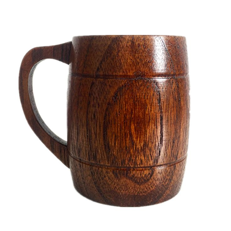 New Wooden Coffee Cup Mug With Handle Creative Beer Milk Drinkware Nature Wood