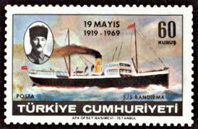 Turkey Stamp - Atatürk'ün portresi,,Bandırma Vapur lu pul.