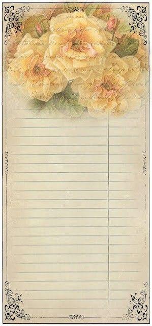 Printable Stationary Vintage Roses