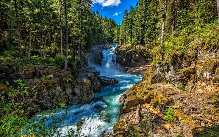 Las, Góry, Wodospad, Rzeka