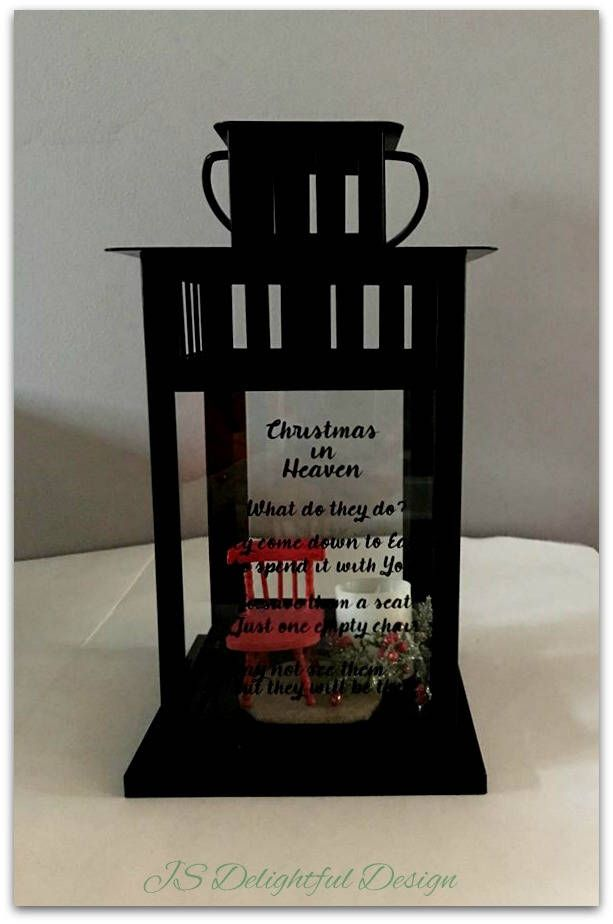 Christmas in Heaven What do they do? They come down to Earth to spend it with you.  So save them a seat just one empty chair.  You may not see them but they will be there.   Christmas In Heaven | Lantern | Sympathy Gift | Bereavement Gift | Chair | Loved Ones | Memorial