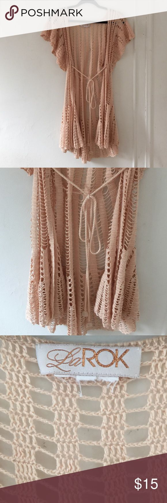 La Rok crochet coverup Beautiful creme crochet cover up from La Rok. Adorable over a tight black dress paired with some wedges. Barely worn and in great condition! ⭐️ La rok Tops Blouses