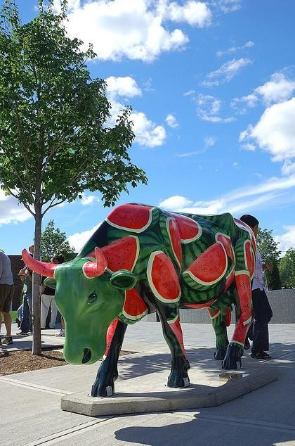 the Cow Parade is a traveling public art exhibit that asks local artists to paint a hundred or more life-sized fiberglass cows, which are then displayed throughout the region, both indoors and out. The Cow Parade has appeared in cities all over the world and dozens of major U.S. cities, including Chicago, Houston and Atlanta. watermelon example repeated imagery