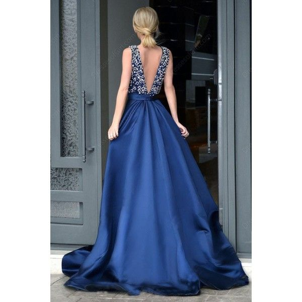 Elegant Deep V-neck Royal Blue Rhinestone A-line Long Cheap Prom... ($175) ❤ liked on Polyvore featuring dresses, gowns, royal blue long dress, prom dresses, long prom gowns, royal blue ball gown and blue long dress