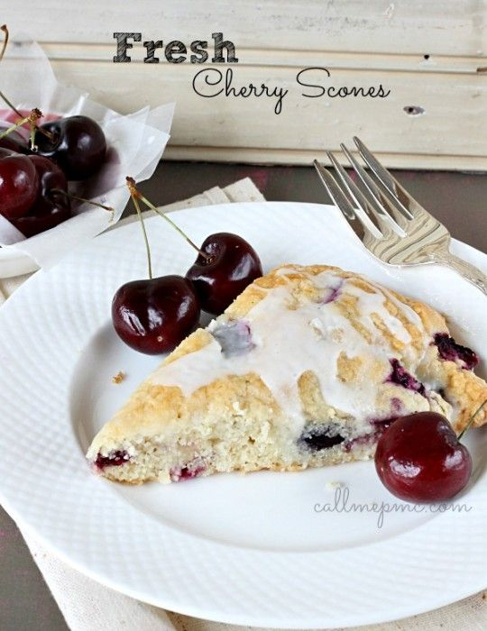 Fresh Cherry Scones - #callmepmc Delightful cherry flavor with a sweet glaze make these Fresh Cherry Scones perfect for breakfast, brunch, or entertaining. http://www.callmepmc.com/2013/08/fresh-cherry-scones/