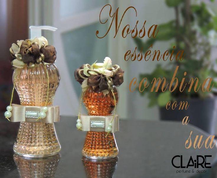 indo Kit com frascos decorados, na essência Vanilla Lace, uma fragrância selvagem e preciosa, de uma recordação maravilhosa e um aroma inesquecível. #arteemperfumar #decoração #aroma — Claire perfume & decor.