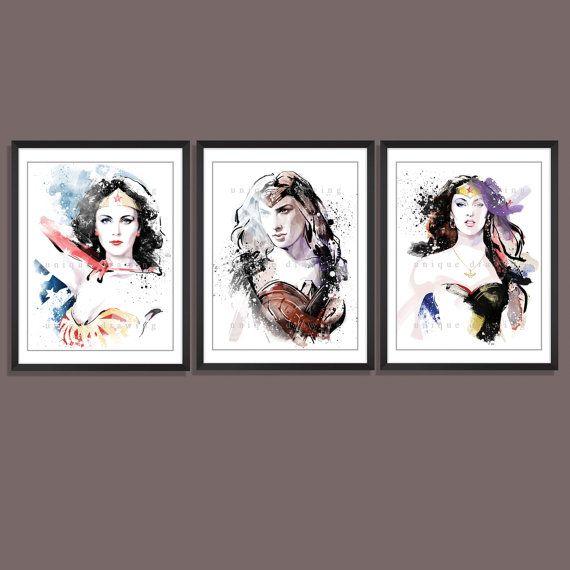 Wonder woman poster, Wonder woman print set, Superman movie poster, Wonder Woman Diana Prince, Lynda Carter, Megan Fox, Gal Gadot, 3565