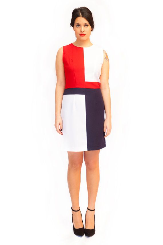 Red white and navy A line tea dress 60s mod