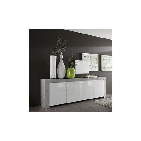 De fabrication italienne ce buffet bahut blanc laqu et gris moderne saura v - Buffet blanc et gris ...