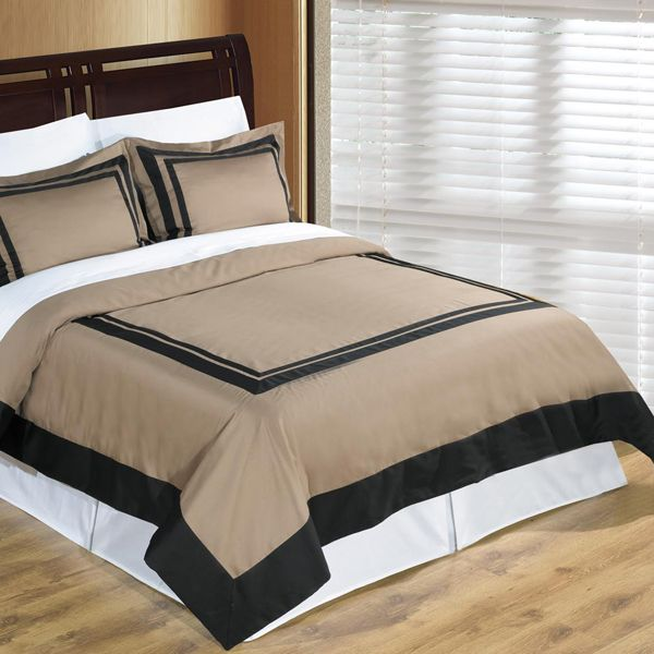 Taupe Black Hotel Twin XL Duvet Cover Set Wrinkle Resistant Egyptian Cotton  | FREE SHIPPING