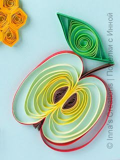 Quilled apple cut in half tutorial