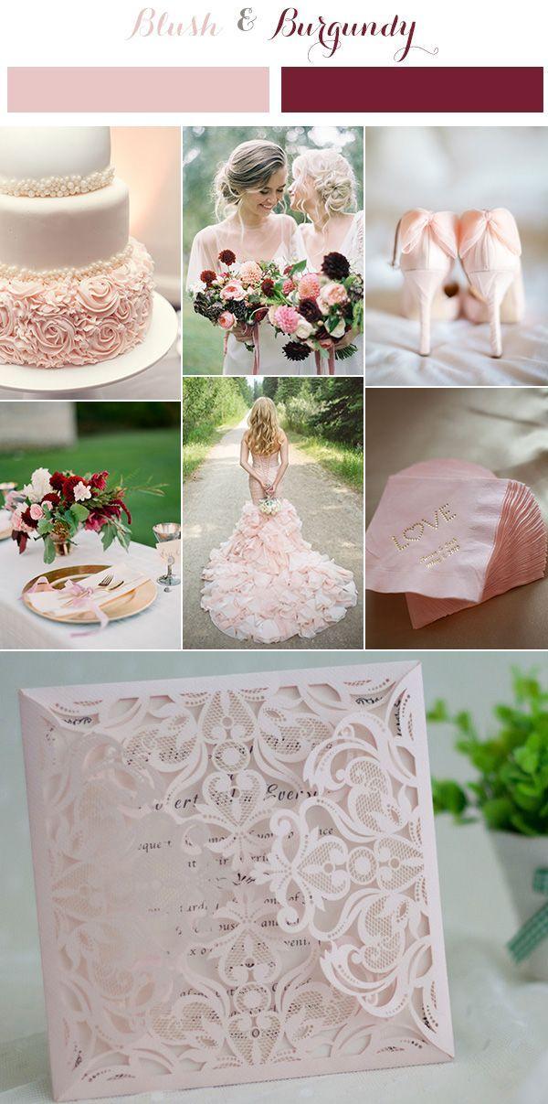 affordable blush pink floral laser cut wedding invitation EWWS047 | Burgundy wedding colors ...