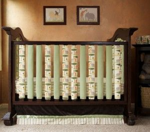 Wonder bumpers zip around each crib slat -- cool way to get the color and pattern you want in a bumper while keeping baby safe.