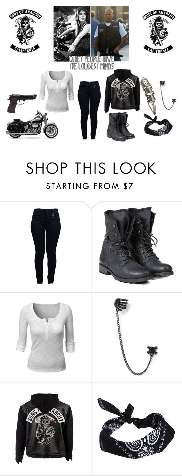 """The Female Son - Sons Of Anarchy - Happy Lowman"" by aliiceroseee ❤ liked on Polyvore featuring Armani Jeans, PLDM by Palladium, Doublju, SOA, ASOS and Wet Seal"