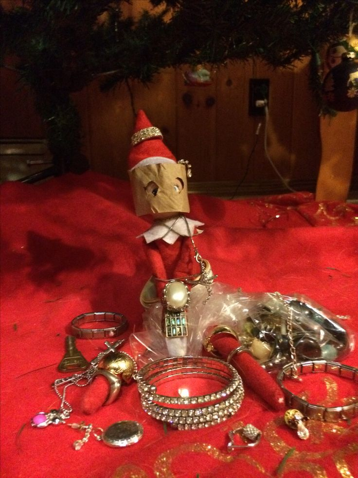 Elvis our Elf on the shelf, was caught in a jewelry heist!