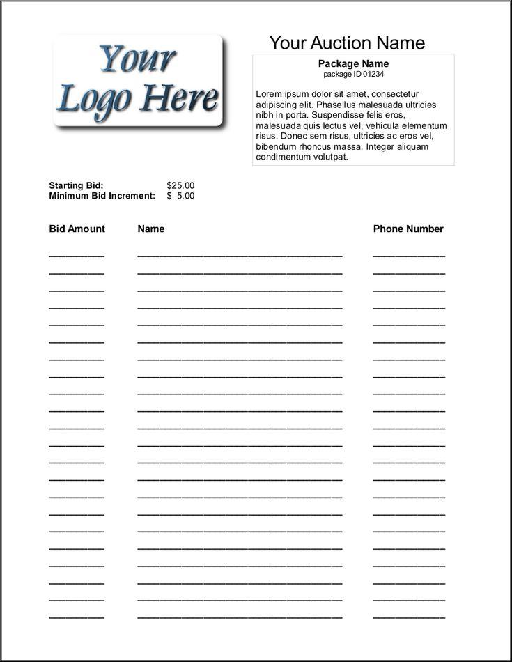 silent auction bid sheet template 1641 Silent Auction - sample silent auction bid sheet