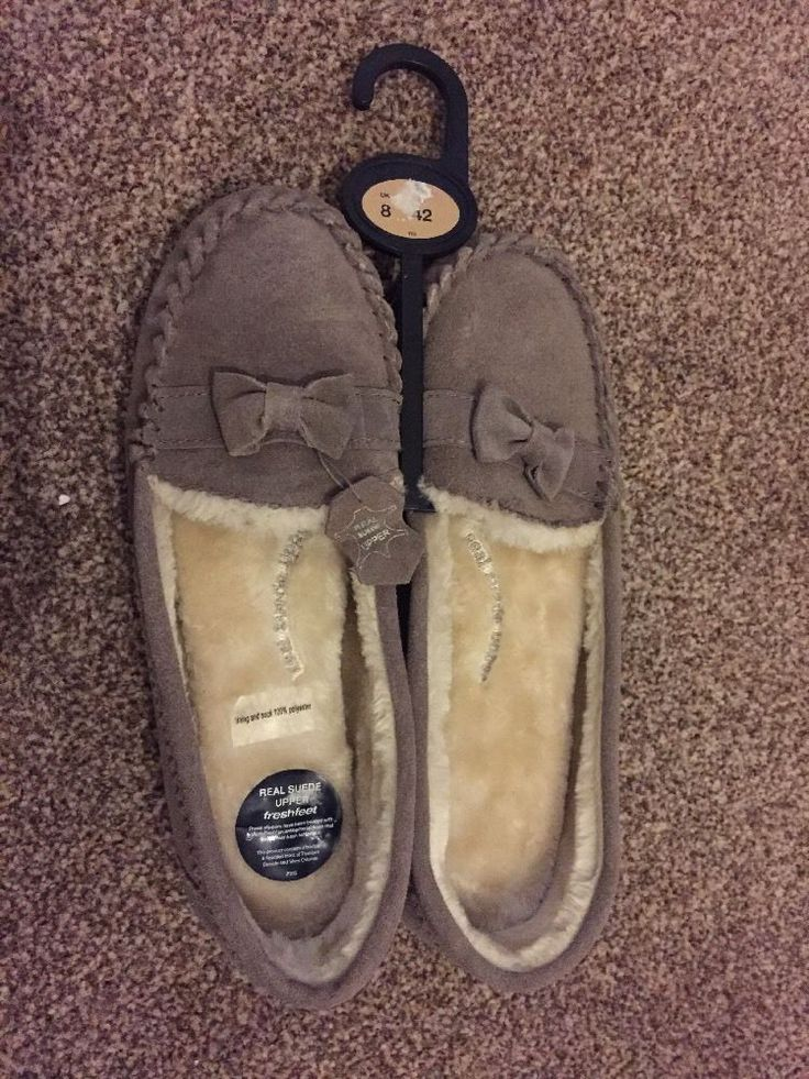 M&S Real SUEDE Upper ladies Moccasins slippers size UK8 EU42 BNWT RRP£19.50 Mink