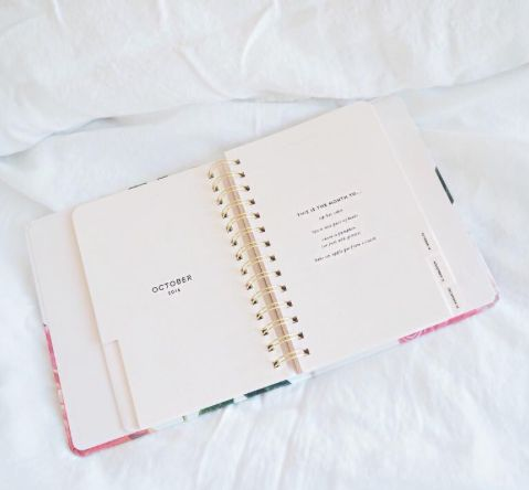 """We love waking up to our beloved 17-month #KateSpade floral agenda, especially when it's to a brand new month. The quote says """"Sip hot cider, buy a new pair of boots, carve a pumpkin (or just add glitter) and bake an apple pie from scratch."""" Here's to October! Available now at #shoprubyfrank."""