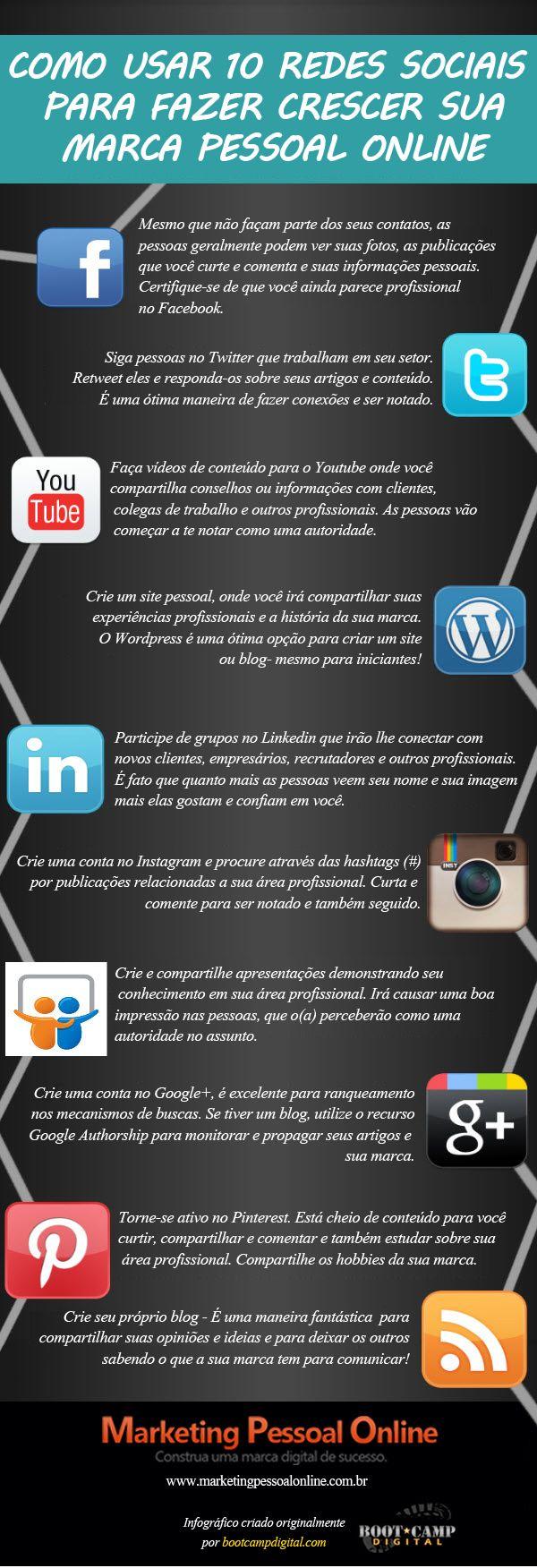 Infográfico - 10 redes sociais para usar em seu Marketing Pessoal online. Ações simples em cada uma delas para obter sucesso em seu marketing pessoal.