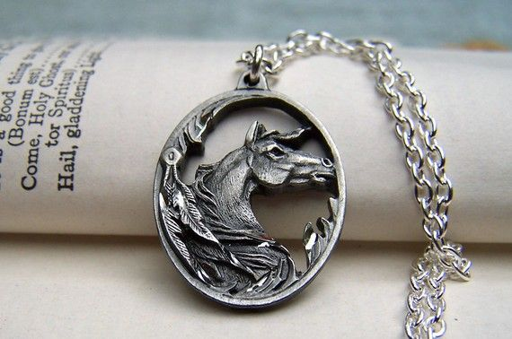 Horse Necklace Horse Jewelry Equestrian Pewter Horse on Silver Chain $24.00 USD