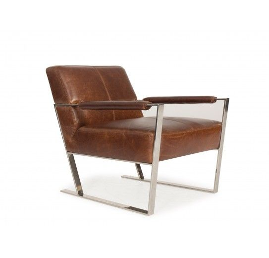 Uno Arm Chair, Contemporary With A Retro Feel. Chrome Base With Mocha  Leather.