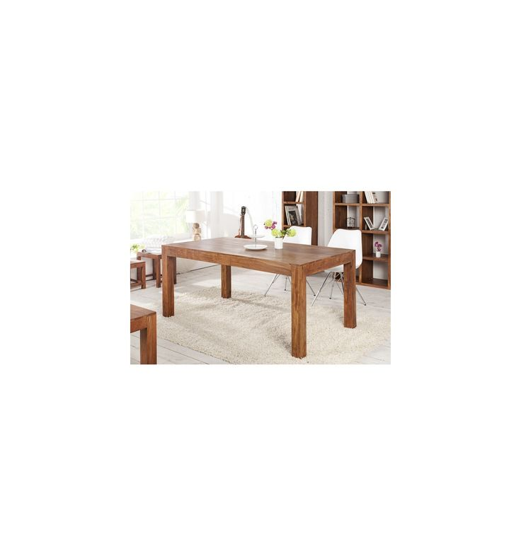 Table à manger 160cm en bois d'acacia coloris ciré naturel