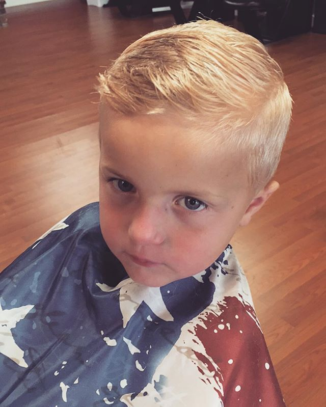 Look how handsome Ben looks this morning! So glad this boy let me finally do a whole hair cut on him! I gave him a fade & a little hard part and it is too cute on him! @beckakyle #boyhaircut