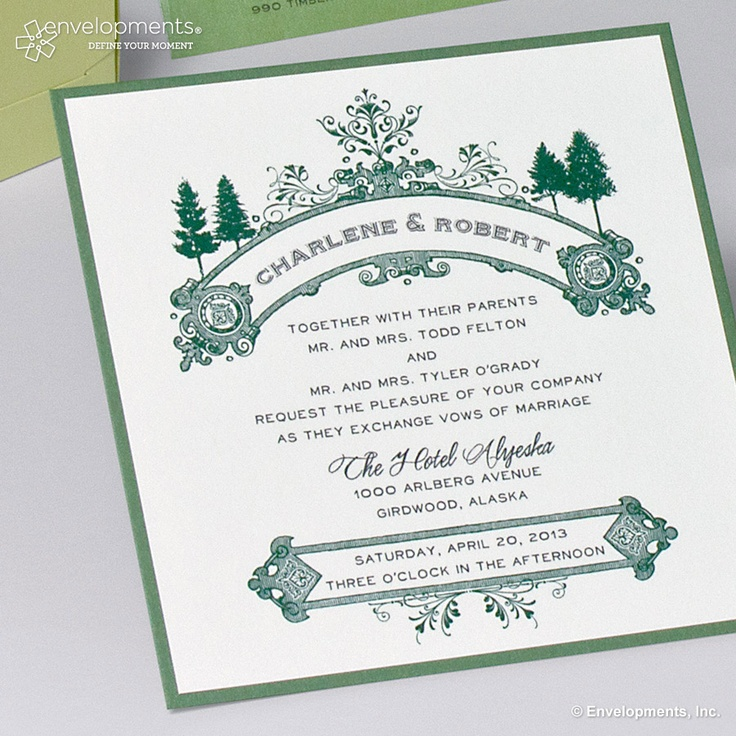 Charlene   Robert   Envelopments Wedding Invitation   New hot green color   available at www57 best Cam and Maria s Renaissance Wedding Inspiration  images on  . Envelopments Wedding Invitations. Home Design Ideas
