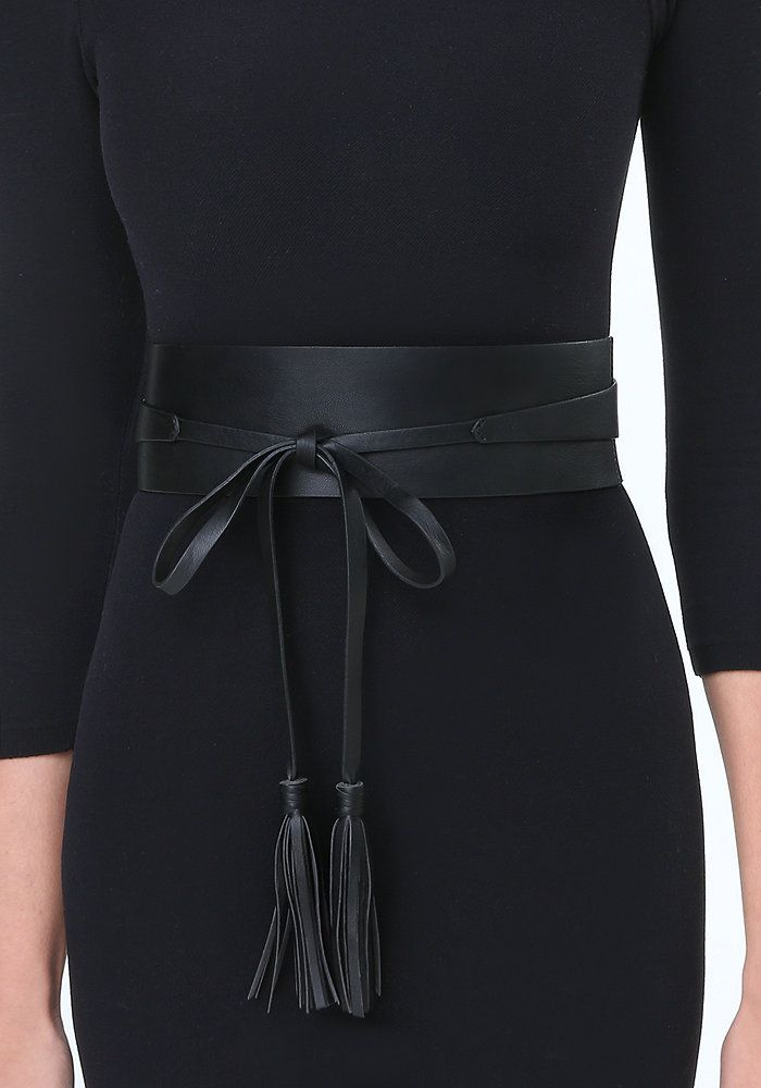 Tassel Leather Obi Belt at bebe
