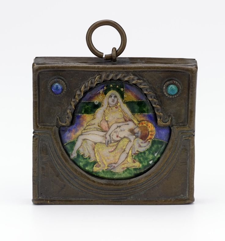 Shaped plaquette depicting the Pieta, mounted in a rectangular frame, of copper alloys, enamels and foil, entitled 'Our Lady of Sorrow' on reverse: Scottish, Edinburgh, by Phoebe Traquair, 1902